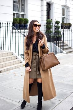 With Love From Kat // Fall Tones in Chelsea. Black blouse+taupe skirt+black over the knee boots+camel long coat+brown handbag+gold necklace+sunglasses. Fall Casual Business Outfit 2016