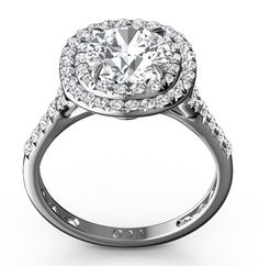2.15 Cttw Round Diamond Halo Engagement Ring in 14K White Gold by…