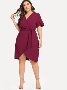 Shop Plus Curved Hem Surplice Wrap Dress online. SHEIN offers Plus Curved Hem Surplice Wrap Dress & more to fit your fashionable needs. Plus Size Skirts, Plus Size Outfits, Plus Size Spring Dresses, Plus Size Wedding Dresses With Sleeves, Big Size Dress, Looks Plus Size, Plus Size Chic, Curvy Dress, Plus Size Fashion For Women