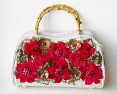 Vintage 50s White Raffia Red Flowers & Gold by hillbillyfilly