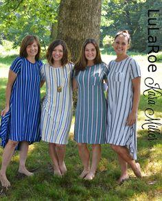 LuLaRoe Carly dress with vertical stripes. I adding a belt to ...