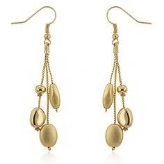 Golden Bead Drop Earrings