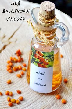 SEA BUCKTHORN VINEGAR Sea Berries, Vinegar Uses, Good Food, Yummy Food, Dressing, Vitamin E, Chutney, Superfoods, Preserves
