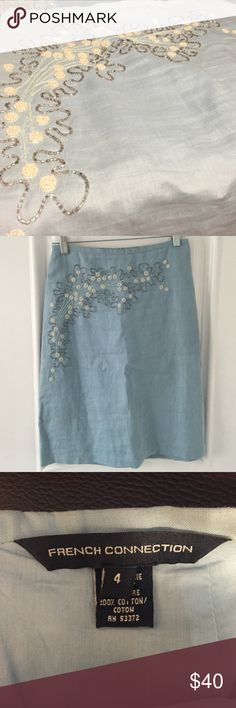French Connection sky blue linen beaded skirt, 4 French Connection baby blue linen skirt with amazing white and silver beading. Nothing broken, no stains. Great condition. Size 4. French Connection Skirts Midi