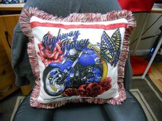 Hwy Honey Harley Davidson Pillow made from a T-Shirt I bought.  Back is Red/red.  Lovely Red White and Blue . newly posted 4/12/2014  This is for sale at $25.00.