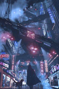 Cyberpunk city life futuristic design with colored signs and flying trains Cyberpunk 2077, Cyberpunk City, Cyberpunk Kunst, Cyberpunk Aesthetic, Futuristic City, City Aesthetic, Futuristic Architecture, Cyberpunk Fashion, Cyberpunk Tattoo