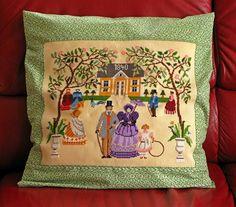 """Embroidery - Kissenbezug mit großer Stickerei """"1840"""" von Traudi's Sticheleien auf DaWanda.com"""