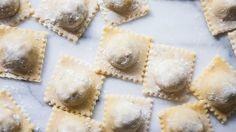 Follow these directions, but use almond flour pasta.  Must find ravioli tool.