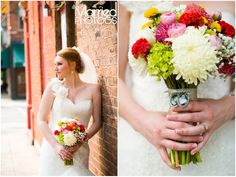 Notice the charms in the bridal bouquet