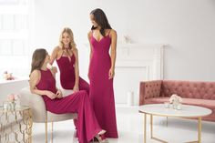 Style 5909 Hayley Paige Occasions bridesmaids gown - Gunmetal chiffon A-line gown, sheer racer neckline, natural waist. Spring 2019 Bridesmaids dresses arriving in stores early January Wedding Dress Trends, Wedding Dresses, Modern Bridesmaid Dresses, Hayley Paige, A Line Gown, Fashion Leaders, Stylish Dresses, Occasion Dresses, Dress Collection