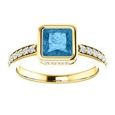 14kt Yellow Gold 5.5mm Center Square Topaz or 20 Halo Genuine Diamonds and 14 Accent Genuine Diamonds