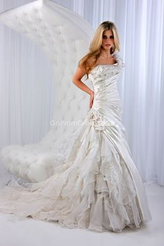 A-line Satin Flowers One Shoulder lace-up back Wedding Dress - gopromdres.com.     Love the mixture on the skirt