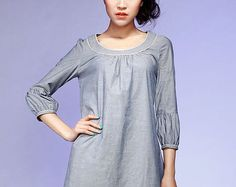 gray dress woman Mini dress linen dress 783 by xiaolizi on Etsy