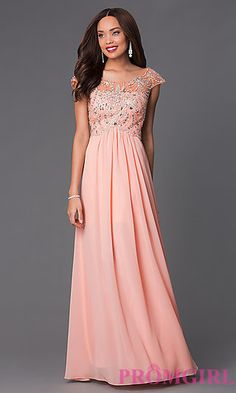 Cap Sleeve Long Embellished Prom Dress PO-7122 at PromGirl.com