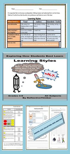 If any two of us were the same, one would not be necessary. Meeting students' different learning styles is imperative. This resource packet was designed to explore students' learning styles in Gr. 3-8. The highly interactive learning styles activities appeal to visual, auditory, kinesthetic, and tactile learners.  Included are a learning styles inventory or learning styles survey.  Consider constructing a bulletin board data wall with the results. #learningstyles #learningstylesinventory