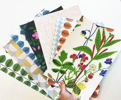 Samples from the collection Scandinavian Designers II - Patterns by Stig Lindberg, Arne Jacobsen, Viola Gråsten, Gocken andLisbet Jobs. #borastapeter #scandinaviandesigners #wallpaper