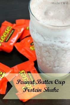 Peanut Butter Cup Protein Shake! Classic Reese flavors get a healthy makeover!! #proteinshakes #reeses #healthy {www.maybeiwill.com}