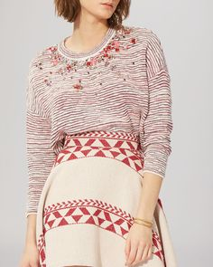 This bumped-up basic from Maje makes a bold style statement with a melange of decorative elements, including plush, knit stripes and a spray of multicolor rhinestones. Red Rhinestone, Sweater Shop, Bold Fashion, Maje, Bell Sleeve Top, Stripes, Knitting, Chic, Tricot