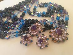 SUPERB Hobe Parure Multi Necklace Bracelet Matching Clip Earrings in Iridescent Vibrant Purple Blues All Pieces Signed Hobe Collectors Dream