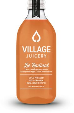 carrot, sweet potato, lemon, granny smith apple, and fresh tumeric root - Village Juicery - Cold Pressed, 100% Organic, Raw, Never HPP'D