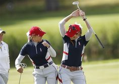 Paula Creamer and Christie Kerr continue the tradition with a hip bump at the 2011 Solheim Cup #SC13