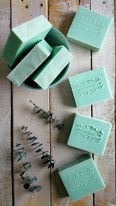 "Bathe away the ew without the goo. Remember the ""vapor goo"" Ma used to slather all over your cupid's bow and decolletage? Not cute as an adult, although tempting. Eucalyptus soap is the mystically sop Savon Soap, Essential Oils Soap, Soap Making Supplies, Homemade Soap Recipes, Bath Soap, Soap Packaging, Cold Process Soap, Soap Molds, Home Made Soap"
