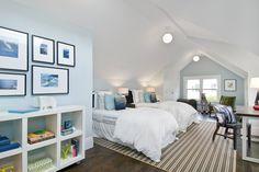 Suzie: Cardea Building Co. - Boys' attic bedroom with blue walls paint color, skylights, ivory ...