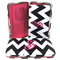 """Letter """"S"""" Initial Personalized Chevron Flat Wallet Clutch Purse. Size : 7.5w X 4.5h X 1d in. - This wallet is Letter """"S"""". Material : PVC Faux Leather. Snap Closure. Plenty of Pockets for Credit Cards. Checkbook Holder Cover Inside."""