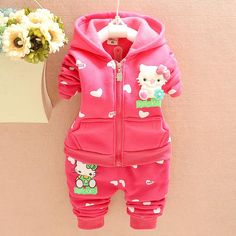 Baby Girls Clothes Sets 2pcs 3pcs Hooded Jackets Toddler Girl Clothing Sets Hello Kitty Winter HelloKitty Party    Very Cute ! !  Like and share!   Get yours here  http://HelloKittyParty.com   #hellokittylover #hellokitty #hellokittyaddict