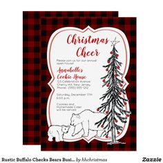 Holiday tea party invitation pinterest rustic buffalo checks bears business holiday party invitation stopboris Images