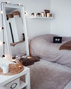 Dorm Room Decor Minimalist Minimalist Room Decor Ideas That'll Motivate You To . Dorm Room Small Bedroom Decor 3 Ways Mr Kate . 14 Dorm Room Ideas That Are Melting Our Minds RN. Home and Family Bedroom Inspo, Home Bedroom, Girls Bedroom, Mirror Bedroom, Trendy Bedroom, Modern Bedroom, Bedroom Themes, Bedroom Lighting, Design Bedroom