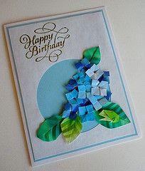 Paper Greeting Card 3 Photos | Origami Hydrangea and Frog | 400