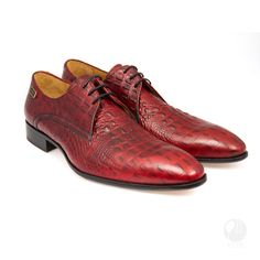 Mens genuine leather laced shoes, handmade with crocodile skin texture    - Mens genuine leather laced shoes  - Real calf hide leather upper with leather
