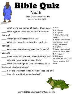 Enjoy our free Bible Quiz: Noah. Fun for kids to print and learn more about Noah and the Great Flood. Feel free to share with others, too! Sunday School Kids, Sunday School Activities, Sunday School Lessons, Verses For Kids, Bible Study For Kids, Kids Bible, Children's Bible, Bible Activities For Kids, Bible Games