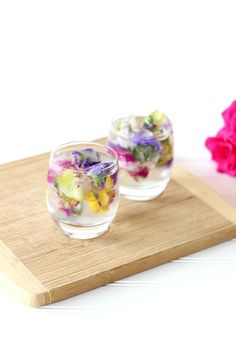 DIY edible flower-infused ice cubes