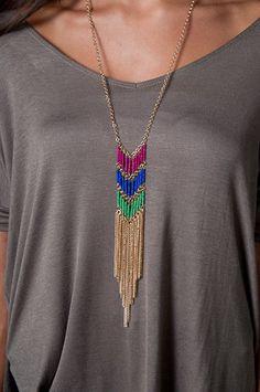 Tricolor Fringe Necklace $20
