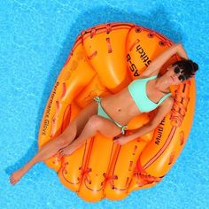 Baseball Glove Float / Your everyday poolside float is now going to be a time to celebrate baseball as you lie on this inflatable Baseball Glove Float. http://thegadgetflow.com/portfolio/baseball-glove-float/