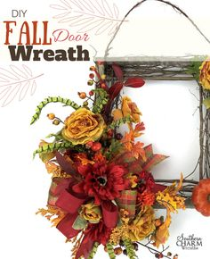 DIY Fall Door Wreath with square wreath frame and flowers