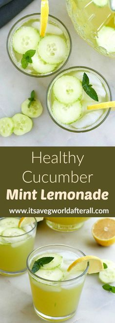 Make this refreshing cucumber lemonade recipe to cool off this summer! Fresh mint adds a cooling taste and honey contributes sweetness. #lemonade #honey #cucumber