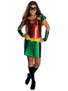 Tween Batman Robin Costume - Batman Robin Tween Costume A super cute sidekick for Batman! Costume includes: Red and green dress with the Robin insignia . Female Robin Costume, Robin Girl Costume, Robin Halloween Costume, Superhero Halloween, Halloween Fancy Dress, Female Superhero, Girl Halloween, Toddler Halloween, Halloween Nails