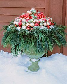 Front porch. wreath on the bottom ornaments on top.