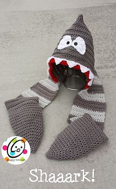 Ravelry: Shaaark Hooded Scarf pattern by Heidi Yates