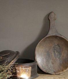 Oude nepalese houten lepel