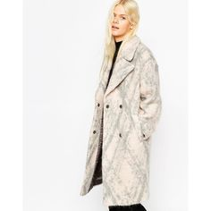 ASOS Coat in Cocoon Fit in Fluffy Texture ($145) ❤ liked on Polyvore featuring outerwear, coats, pinkgreycheck, woolen coat, wool cocoon coat, oversized coat, white wool coat and cocoon coat