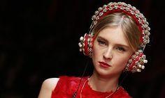 A model at Milan fashion week in March wearing ornate Dolce & Gabbana headphones.