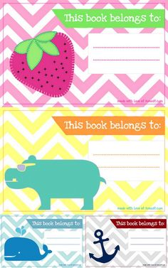 Free Printable: bookplates.  Nice for marking the books that belong to the teacher!