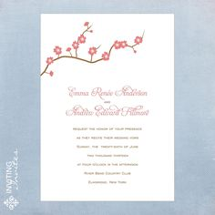 Cherry Blossom Wedding Invitation Flower Spring by InvitingInvites