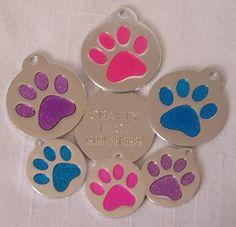 Glitter Paw Round Glitter Enamel Pet Dog Cat ID Tag by craftytagz, $5.99