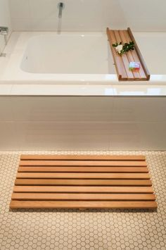 Bath Mat Wooden Acacia Bathroom Duck Board Rectangular Anti Slip Shower Spa Pinterest Sets And