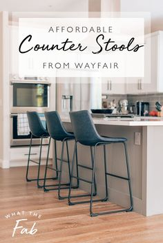 Have you been looking for some affordable and stylish counter stools for your kitchen? These are the perfect navy faux leather counter stools to glam up any kitchen!  counter stools | counter stools kitchen island | counter stools white kitchen | counter stools with backs | counter stools modern | bar stools kitchen island | bar stools kitchen island modern  #counterstools #counterstoolskitchenisland #counterstoolswhitekitchen #counterstoolswithbacks #counterstoolsmodern… Kitchen Island Stools With Backs, Modern Counter Stools, Cool Bar Stools, Bar Stools With Backs, Kitchen Counter Stools, White Leather Bar Stools, Leather Counter Stools, White Kitchen Counters, Farmhouse Stools